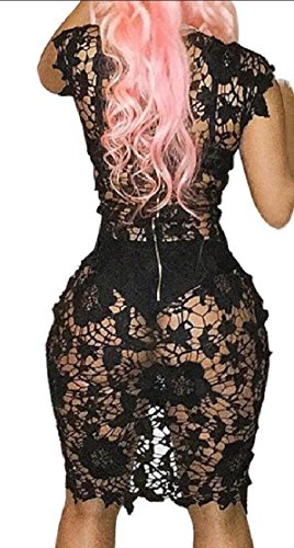 Neck Sexy Dress Midi Stylish Club See Through Sleeveless Party Women's Jaycargogo Black Bodycon V tw57C7aq
