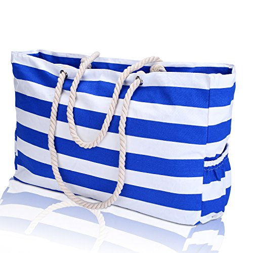 KUAK Extra Large Beach Bag, with 100% Waterproof Phone Case, Key Holder, Bottle Opener, Two Outside Pockets, Top Zipper Closure, Canvas Blue Stripe Cotton Rope Handles Shoulder Beach Tote Bags by KUAK