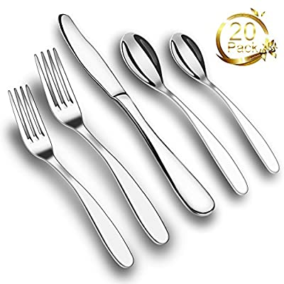 ONSON 20-Piece Flatware Set,Stainless Steel Dinnerware,Steel Mirror Polishing,Multipurpose Use for Kitchen,Hotel,Restaurant (Cutlery Service for 4,20-Piece)