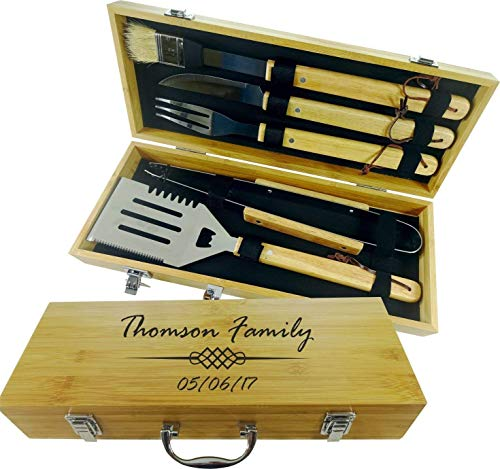 (BBQ SET 5 tools Custom engraved/personalized grilling set with 5 useful Barbeque grilling tools in natural bamboo case)