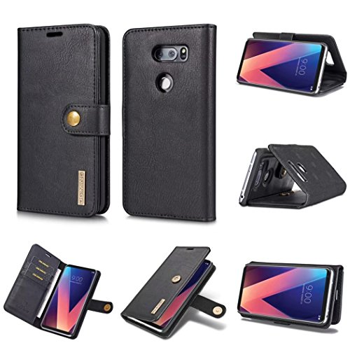 LG V30 Case,DG.MING Magnetic Detachable 2 in 1 Vintage Genuine Cowhide Leather Folio Flip Wallet Cases Removable Retro 3 Card Slots Phone Back Cover for LG V30 (Black) (Credit Card Machine Attached To Cell Phone)