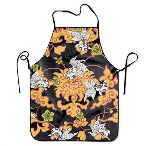 - Unisex Bib Apron Vintage Goldfish Pattern for Home Stitched Edges