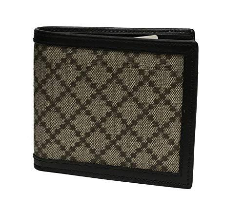 Gucci Beige Canvas Leather Trim Diamante Bi Fold Wallet for Men