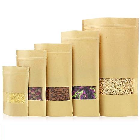 100 bolsas de papel kraft selladas, transparentes para ...