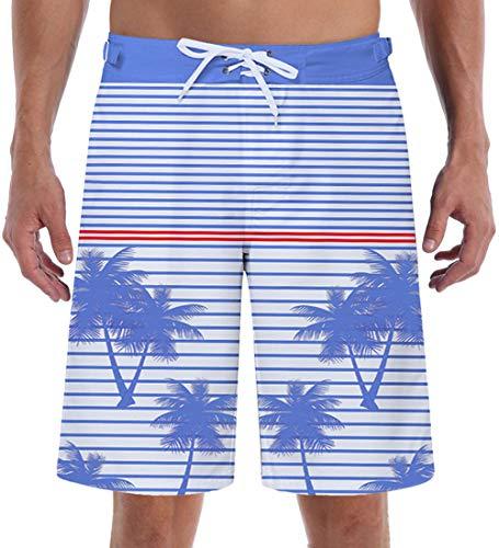 Blue White Stripe Swim Trunks Board Trunks Blue Stripe Pattern Hawaiian Cargo Shorts 90s Bathing Suit 3D Palm Tree Summer Beachwear Long Swimsuits Drawstring Waist with Velcro Pocket Mesh Lining (Palm Pattern Tree)