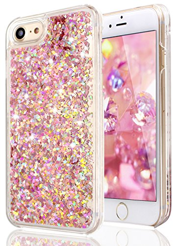 8a6442b0f1c700 iPhone 6 Case,iPhone 6 Running Glitter Case, LUOLNH Creative Design Flowing  Liquid Floating Luxury Bling Glitter Transparent Sparkle Hard Case Cover  for ...