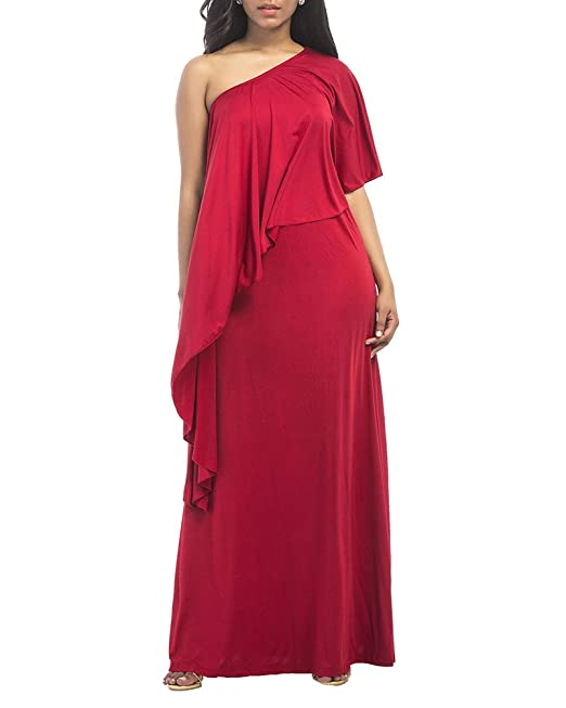 Qitun Womens Plus Size Off One Shoulder Ruffles Loose Dress Solid Cocktail Bridesmaid Evening Long Maxi Dresses: Amazon.co.uk: Clothing