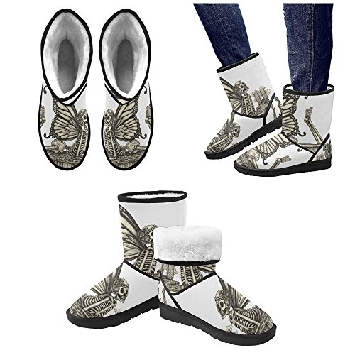 Designed Women's Skull Unique Snow InterestPrint Custom Winter Boots Boots TxqBw1RIKY