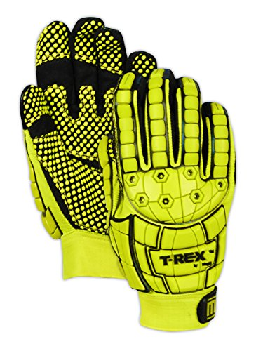 Dotted Palm Gloves (Magid Safety TRX648L T-REX Dotted Palm Impact Glove, Large, Yellow)