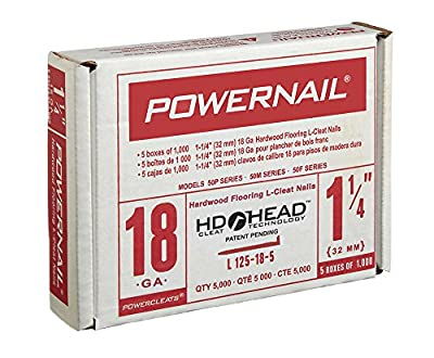 "Powernail 18ga 1-1/4"" HD L-Style Flooring Cleat Nail (box of 5000 cleats)"