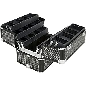 Sunrise I3466 Professional 2-in-1 Rolling Makeup Artist Cosmetic Train Case Organizer Storage, Krystal Black