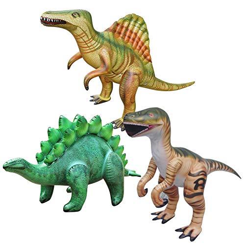 Jet Creations Dinosaur Inflatable Raptor Stegosaurus Spinosaurus Pack of 3 Di-SSR, Multicolor ()