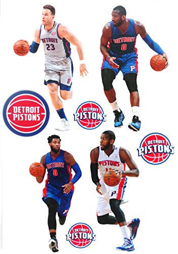 FATHEAD Detroit Pistons Mini Team Set, 4 Players + 4 Pistons Logo Official NBA Vinyl Wall Graphics - Each Player 7