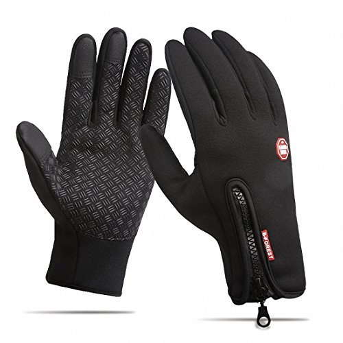 Waterproof Touchscreen Cycling Gloves Winter Warm Full Finger Outdoor Ski Snow Bike Women Men Adjustable Size Glove for Smart Phone,Black,M /Plam width:3.14in by HILEELANG