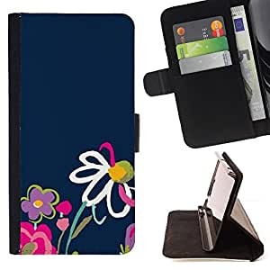 Jordan Colourful Shop - child drawing flower colorful navy For Apple Iphone 5C - Leather Case Absorci???¡¯???€????€????????&cen