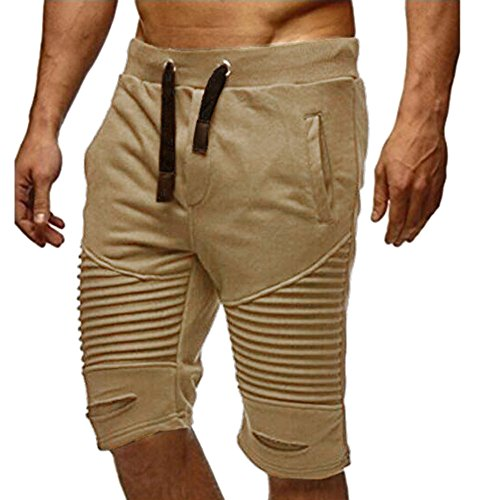 FarJing Clearance sale Men Trousers Sweatpants Slacks Elastic Waist Sportwear Baggy Casual Pants Shorts (Khaki Apparel)