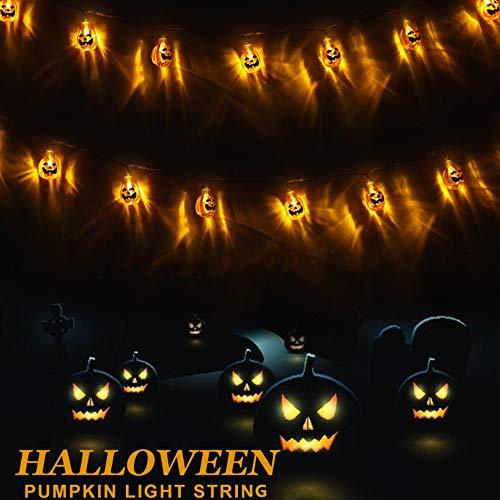 AODINI Halloween Decor Pumpkin String Lights, 13 feet 30 LEDs Battery Operated Halloween Light, Outdoor Halloween Decoration for Patio, Garden, Gate, Yard (IP65 Waterproof,Warm White)