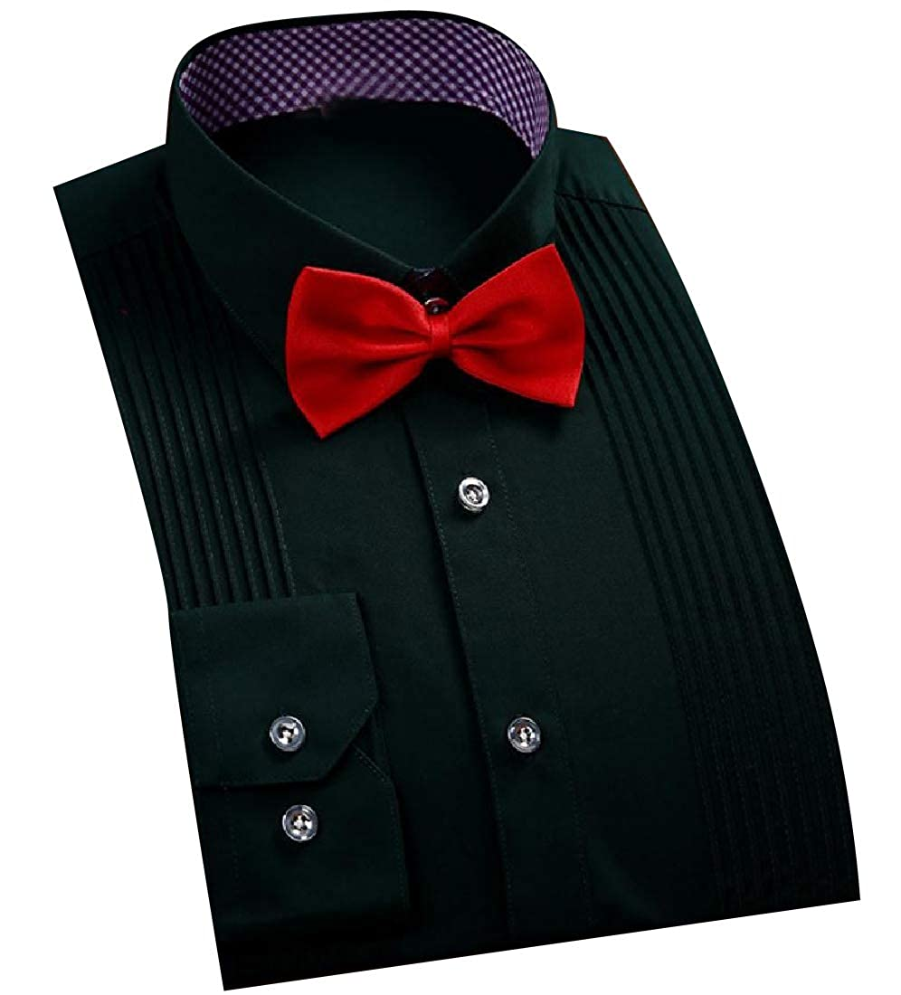 Comaba Mens Bow Tie Original Fit Wedding Button Down Dress Shirt
