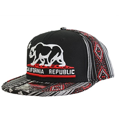 California Republic Embroidered Bear Flag Flat Bill Snapback Hat - Aztec Tribal ()