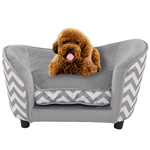 (Giantex Pet Dog Sofa, Orthopedic Ultra Plush Pet Dog Bed, Snuggle Pet Couch Comfortable with Removable and Washable Cushion for Puppy Dogs and Cats (Gray))
