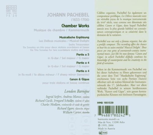 Canon Y Giga. Musica De Camara: London Baroque, Johann Pachelbel: Amazon.es: Música