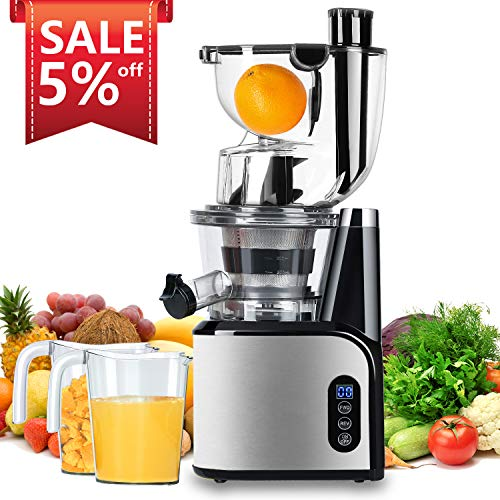 Aobosi Slow Masticating Juicer 83mm(3.15inch) Wide Chute Juice Extractor Cold Press Juicer Machine with Quiet Motor/Reverse Function/Juice Jug and Clean Brush for High Nutrient Fruit & Vegetable Juice (Best Value Masticating Juicer)