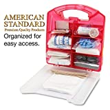 American Standard 25 Person First Aid Emergency Kit - Durable Plastic Box Case, Portable Safety Supplies & Essentials for Outdoor Camping, Hiking, Backpacking, Survival & Sports Teams, 183pc Container