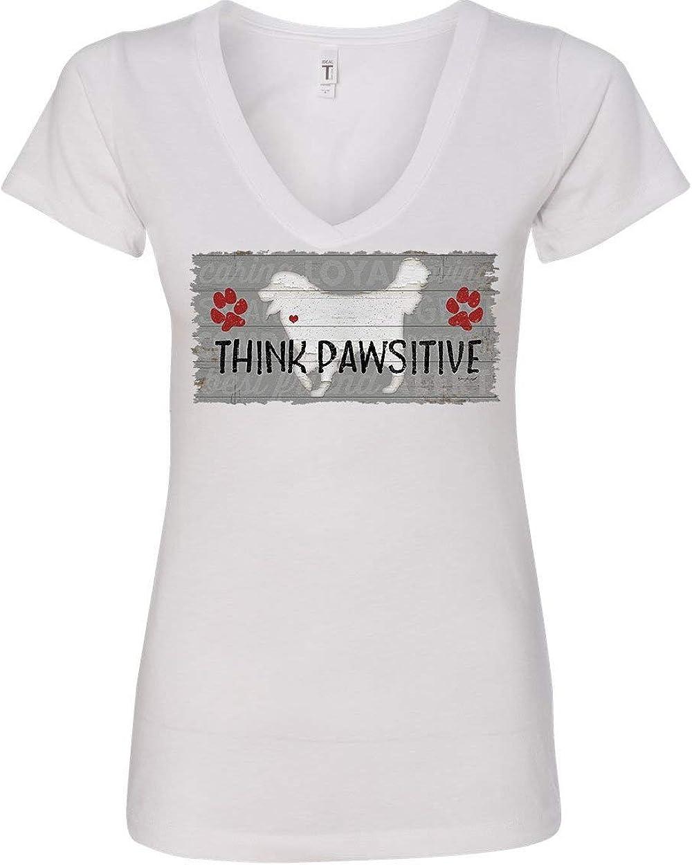 Think Pawsitive Womens V-Neck T-Shirt Dog Rescue Breed Retriever Pet Friend