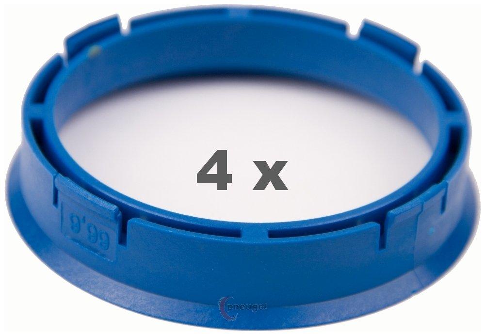 4 X Anello Di Centraggio 66.6 mm a 57.1 mm blu/Blue Pneugo