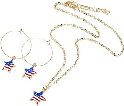 Amosfun Bandera Estadounidense Forma de Estrella Collar Pendientes Conjunto Día de la Independencia Patriótico 4 de Julio Fiesta de Joyería Favores Regalos: Amazon.es: Juguetes y juegos