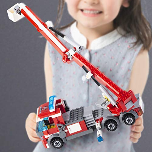 QLT QIAOLETONG STEM City Fire Station Building Blocks,Fire Truck,fire Helicopter,Fire Fighter Building Kit for Boys and Girls 6, 7,8 and 9+Year Old,Buildable Toy for Kids, Building Bricks Kit