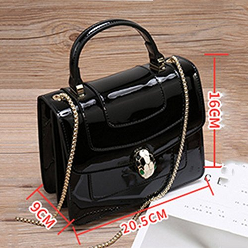Leisure Chain Bag Messenger Bag Bag PU Women's Casual Leather Snake Bag Black Patent Bag Women's Leather Shoulder Leather Head wpAq0