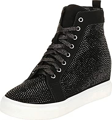 Cambridge Select Women's Crystal Rhinestone Lace-Up Chunky Low Hidden Wedge Heel Fashion Sneaker,6 B(M) US,Black