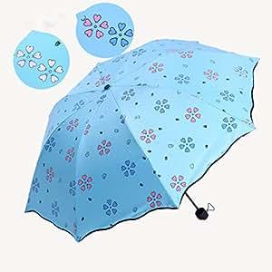 SBBCW Creativo Floración Vinilo Agua Color Lluvia O Sol Protección UV Sol Paraguas