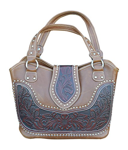 Womens Concealed Carry Shoulder Purse With Tooled Leather...