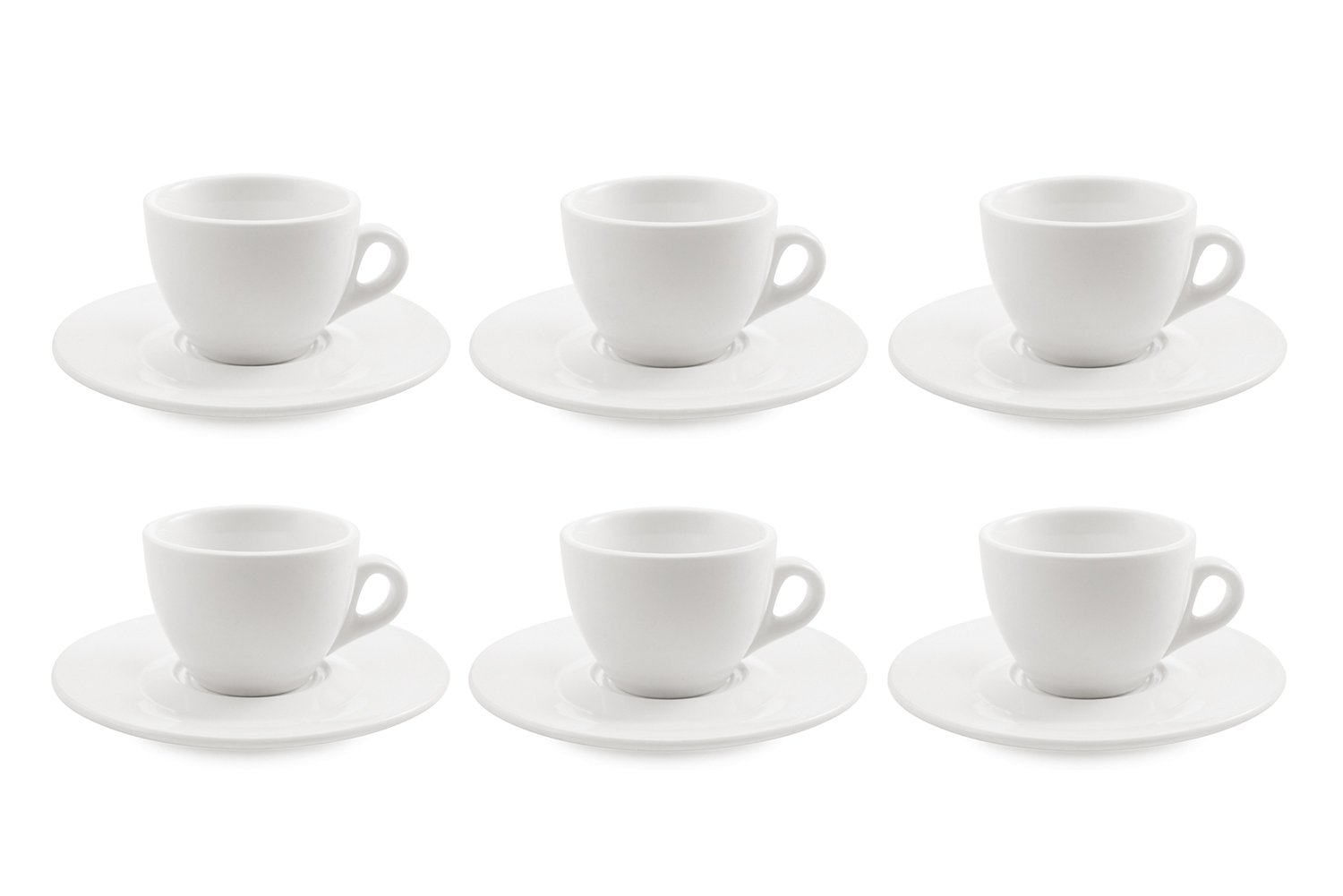Galileo Casa White Set of 6 Tea Cups with Saucers in Porcelain 2177397