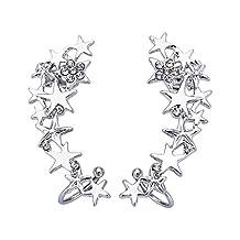 Women Ear Climber Earrings CZ Crystal Star Clip On Earring Stud