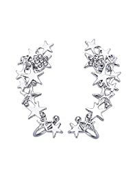 Women Ear Climber Earrings CZ Crystal Star Clip On Earring Stud