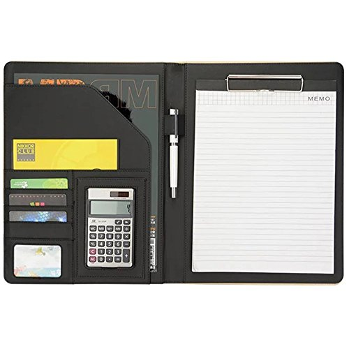 Office Portfolio Organizer Business Padfolio 12-bit Solar Calculator A4 PU Leather Conference Folder Holder Clipboard Cover with Writing Pad eBook (Black)