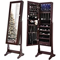 SONGMICS 6 LEDs Jewelry Cabinet Lockable Standing...