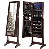 SONGMICS 6 LEDs Jewelry Cabinet Lockable Standing Mirrored Jewelry Armoire Organizer 2 Drawers Brown UJJC94K
