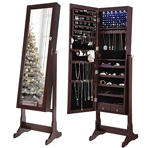 SONGMICS 6 LEDs Jewelry Cabinet Lockable Standing Jewelry Armoire Organizer Brown UJJC94K
