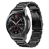 Gear S3 Frontier Band XL/Large,Oitom Premium Solid Stainless Steel Watch Bands Link Bracelet Strap for Samsung Gear S3 Classic Gear S3 Frontier sports Smart Watch Fitness Black
