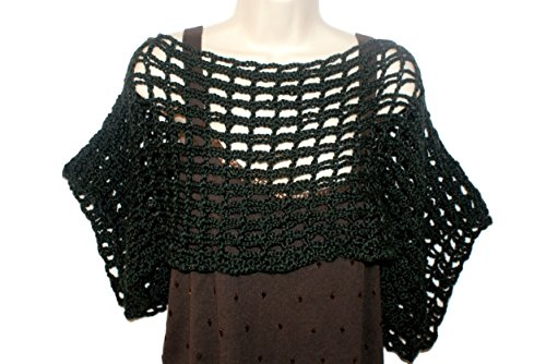 Black Crochet Dolman Vest, Plus Size Capelet, Womans Black Sweater, Cropped Vest