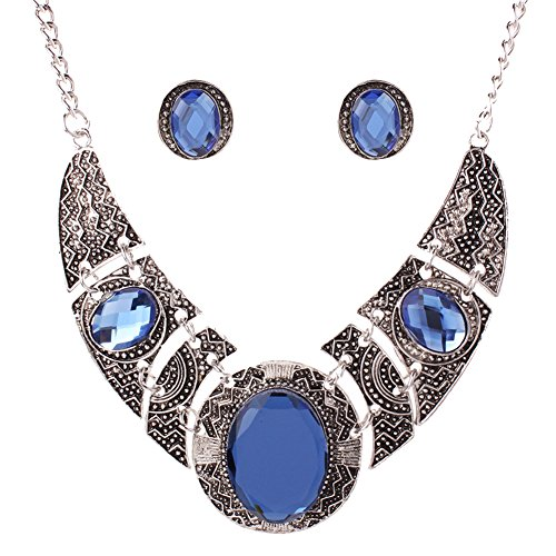 [SDLM Fashion Blue Stone Bib Statement Collar Necklace Stud Earrings Set for Womens Jewelry Set] (Wood Fairy Costumes)