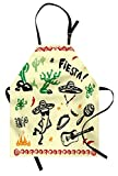 Ambesonne Mexican Apron, Popular Hispanic Cartoon Objects with Fiesta Taco Guitar Cactus Plant Nachos Print, Unisex Kitchen Bib Apron with Adjustable Neck for Cooking Baking Gardening, Multicolor