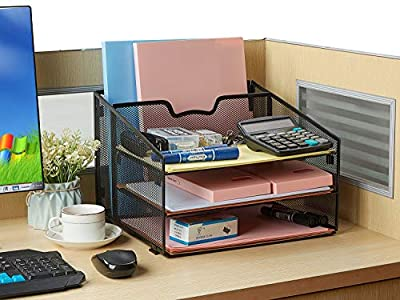Office Desk Organizer, Sinhoveer Desk Supplies with 3 Paper Trays and 1 Vertical Upright Section, Suitable for Organizing A4 Papers, Files, File Folders, Black