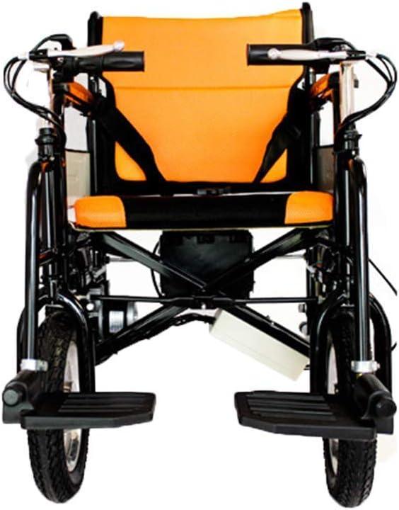 Ancianos Discapacitados Silla de Ruedas Eléctrica Mango de Control Inteligente Silla de Ruedas Plegable Ligera el Modelo de Acero Al Carbono Vehículo Motorizado de Cuatro Ruedas Adecuado para Discapa