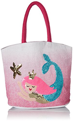 Mud Pie Women's Mermaid Jute Tote Pink