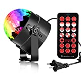 Updated Disco Crystal Ball Lights, AVEKI 6 Color LED Stage Magic Ball Lamp Rotating Party Light Sound Activated Remote Control with Timing Function for Holidays Party KTV Bar Xmas